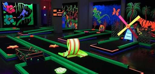A new glow-in-the-dark indoor mini-golf venue opened this