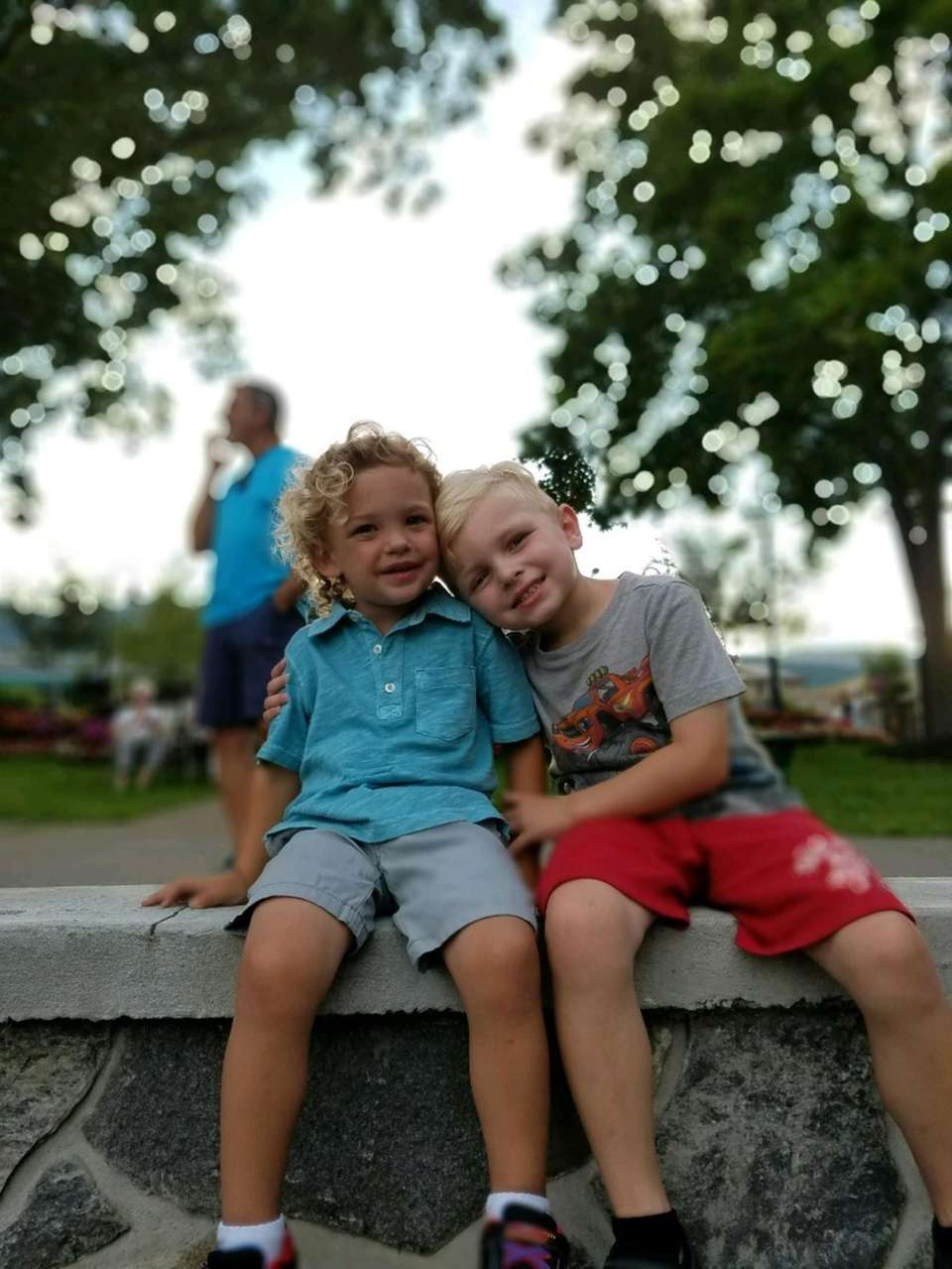 Cousins, Jase and Lincoln, relaxing after dinner and