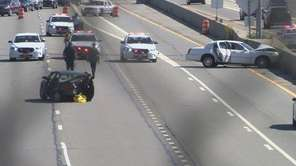 The scene of a two-vehicle crash near Exit