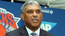 Knicks president Steve Mills talks to the press