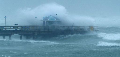 Large waves churned up by Hurricane Irma hit