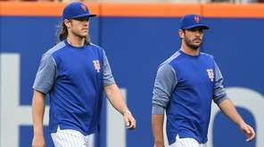 Mets starters Noah Syndergaard, left, and Matt Harvey both