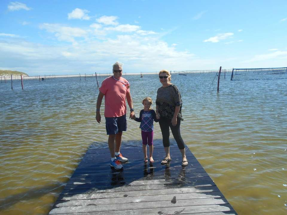 Rhyan, Grandma and Grandpa went to Cedar Beach