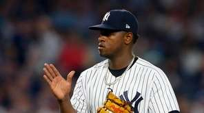 Yankees pitcher Luis Severino reacts after the final