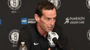 Nets head coach Kenny Atkinson speaks to the media