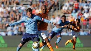 New York City FC forward David Villa works