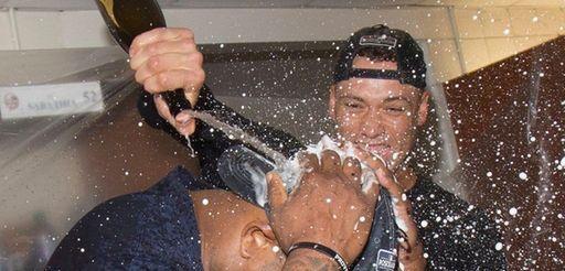 Yankees' Aaron Judge, right, and C.C. Sabathia celebrate