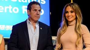Gov. Andrew Cuomo and Jennifer Lopez speak at