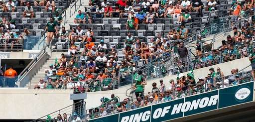 Empty seats are seen in the second quarter