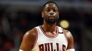The Chicago Bulls' Dwyane Wade walks to the