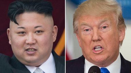 North Korean leader Kim Jong-Un (left) in Pyongyang,