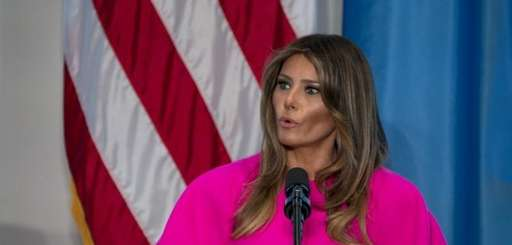 First lady Melania Trump addresses a luncheon at