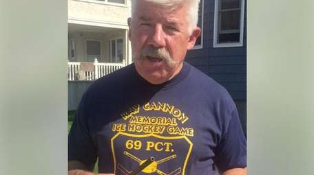 Brendan Finn, 60, a retired NYPD cop, burns