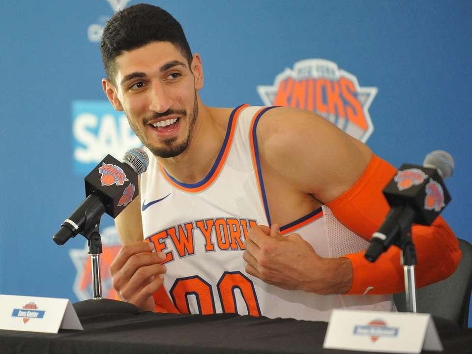 Enes Kanter speaks during Knicks media day at