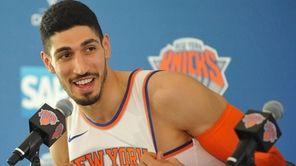 Enes Kanter speaks during Knicks media day at