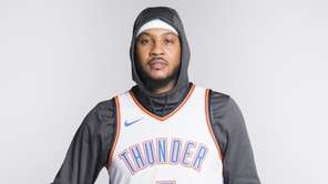 Carmelo Anthony of the Oklahoma City Thunder poses