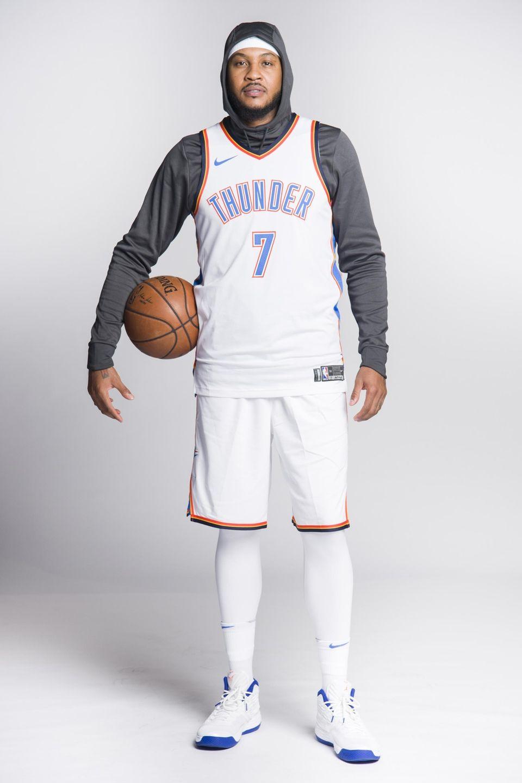 Carmelo Anthony of the Oklahoma City Thunder poses
