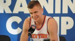 Kristaps Porzingis of the Knicks speaks during the