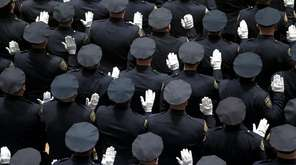 NYPD officers being promoted to detective, seen here
