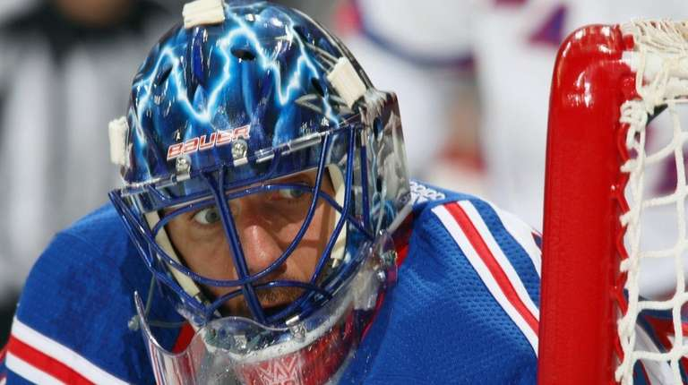 Henrik Lundqvist of the New York Rangers keeps