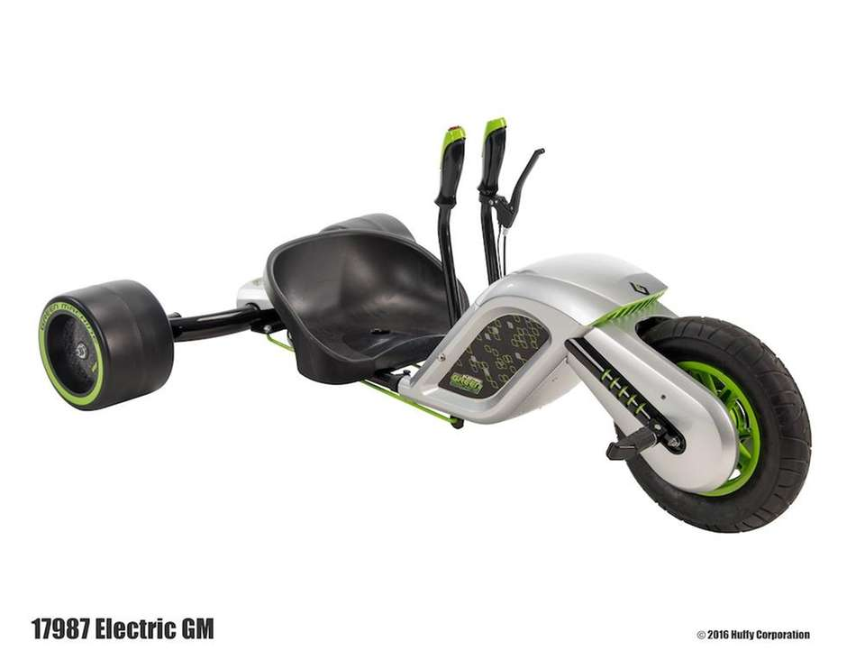 The Huffy Electric Green Machine Trike travels up