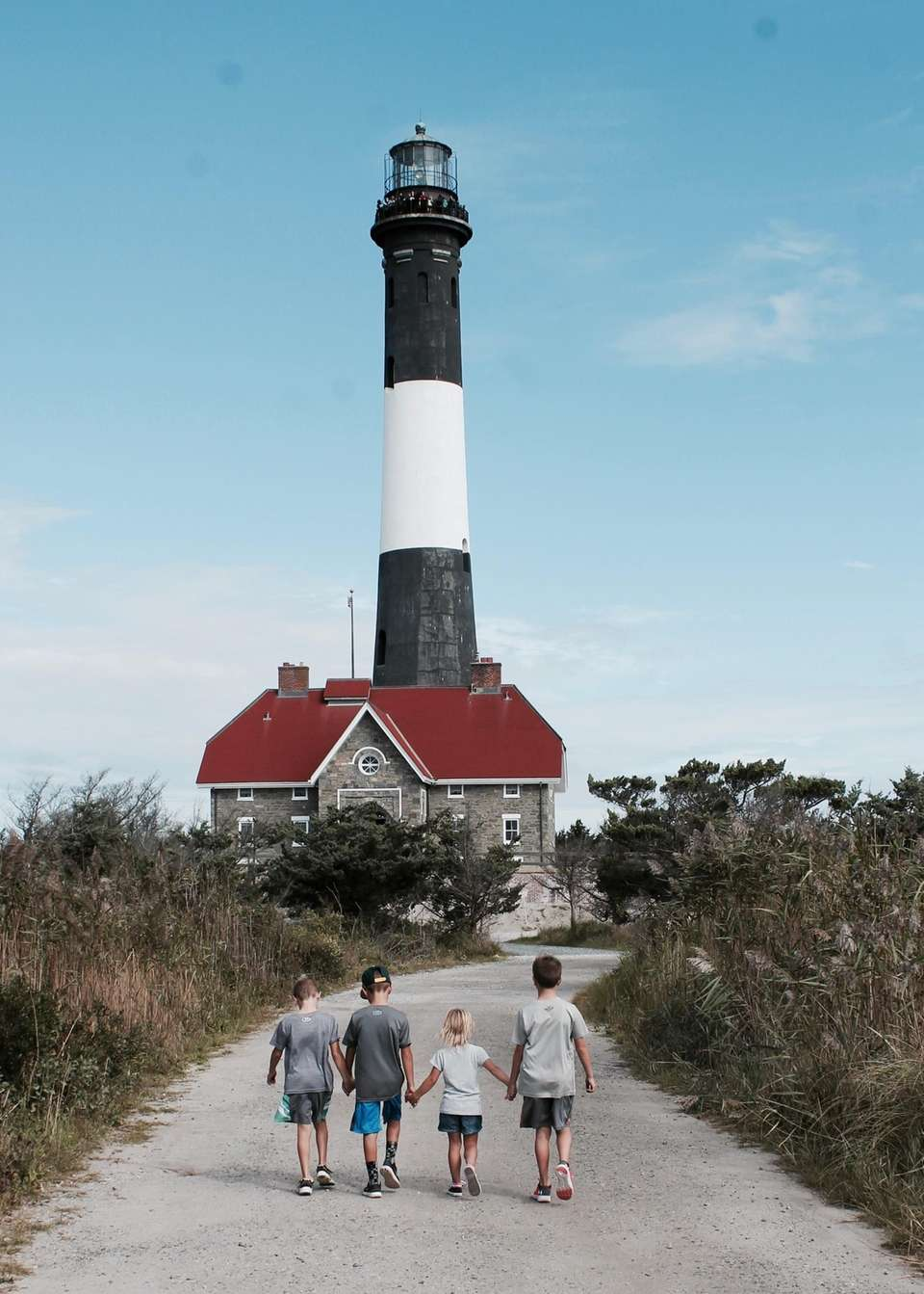 Cousins excited to explore the fire island lighthouse.