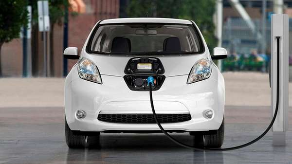 The 2017 Nissan LEAF, an all electric vehicle
