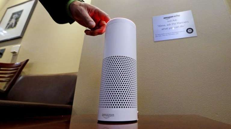 An Amazon Alexa device is switched on for