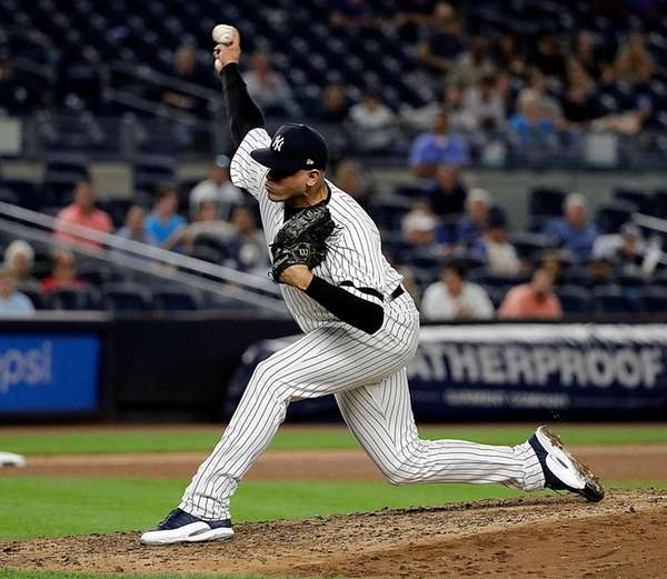 Yankees reliever Dellin Betances pitchesduring the ninth inning