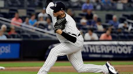 Yankees reliever Dellin Betances pitches during the ninth inning