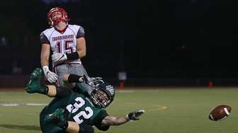 Dean Morreale of Lindenhurst loses the ball against