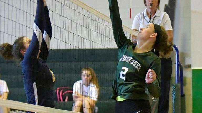 Westhampton's Emma Marino tries for one of her