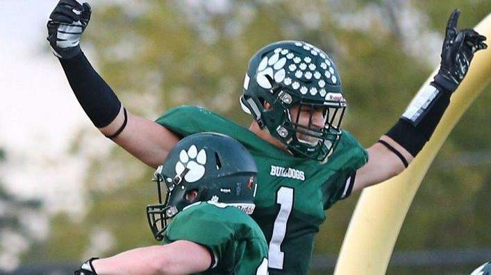 Jeremy Ruckert of Lindenhurst celebrates a touchdown with