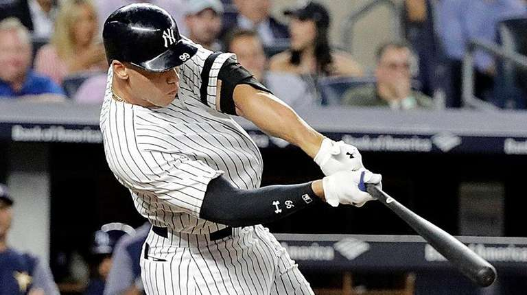 Yankees rightfielder Aaron Judge hits a two-run double