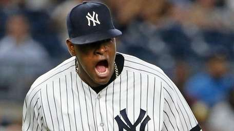 Yankees starting pitcher Luis Severino reacts after the Rays'