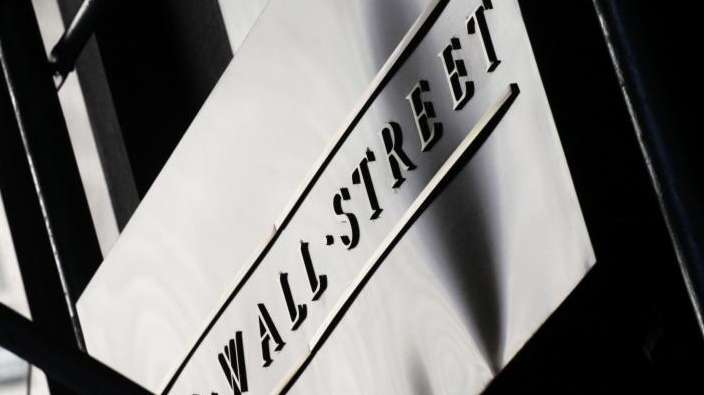 A sign for Wall Street outside the NYSE