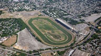 An aerial view over Belmont Park in Elmont