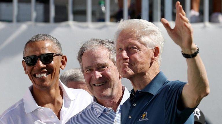 Former U.S. Presidents Barack Obama, George W. Bush