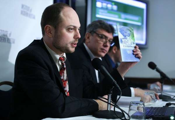 Vladimir Kara-Murza, foreground, helps lead Open Russia, the