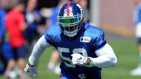 Giants linebacker Jonathan Casillas takes part in a drill