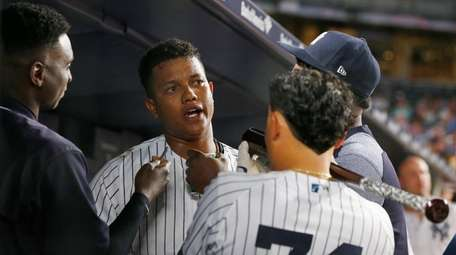 Starlin Castro of the Yankees celebrates his second