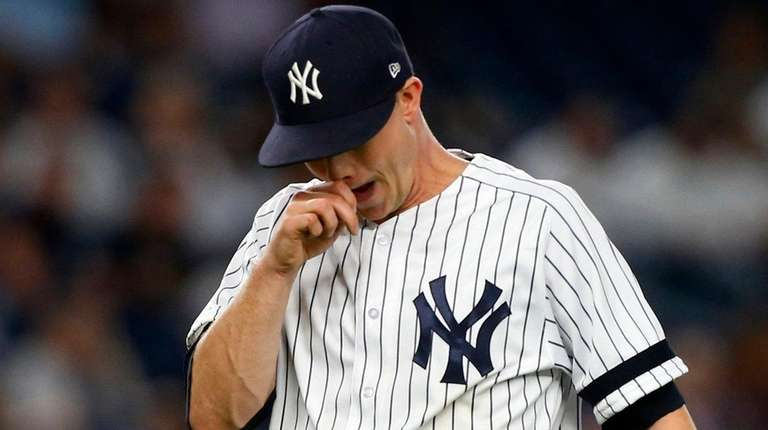 Sonny Gray of the Yankees is removed from a