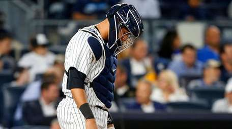 Gary Sanchez of the Yankees looks on after