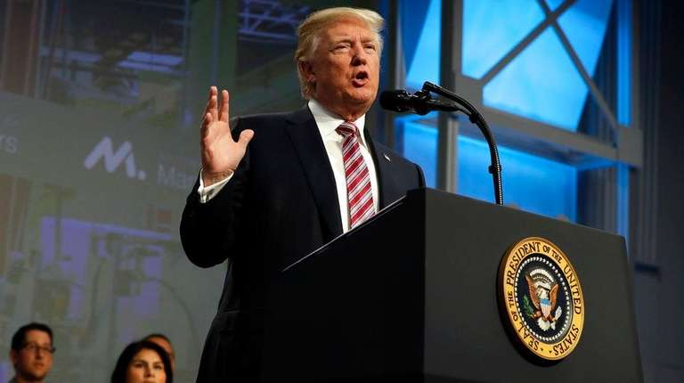 President Donald Trump speaks to the National Association