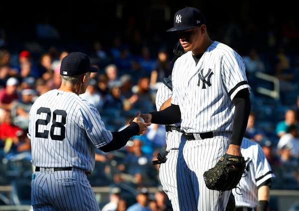 Dellin Betances of the New York Yankees hands