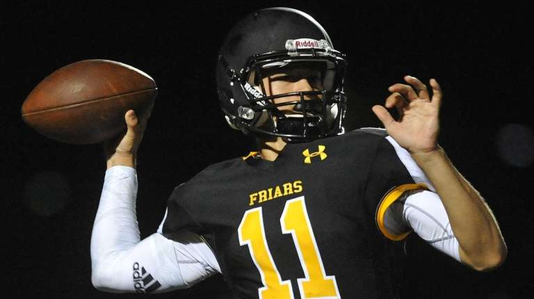 Gregory Campisi, St. Anthony's quarterback, throws a pass
