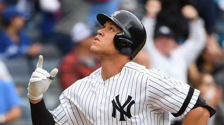 New York Yankees designated hitter Aaron Judge reacts