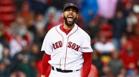 David Price of the Boston Red Sox reacts