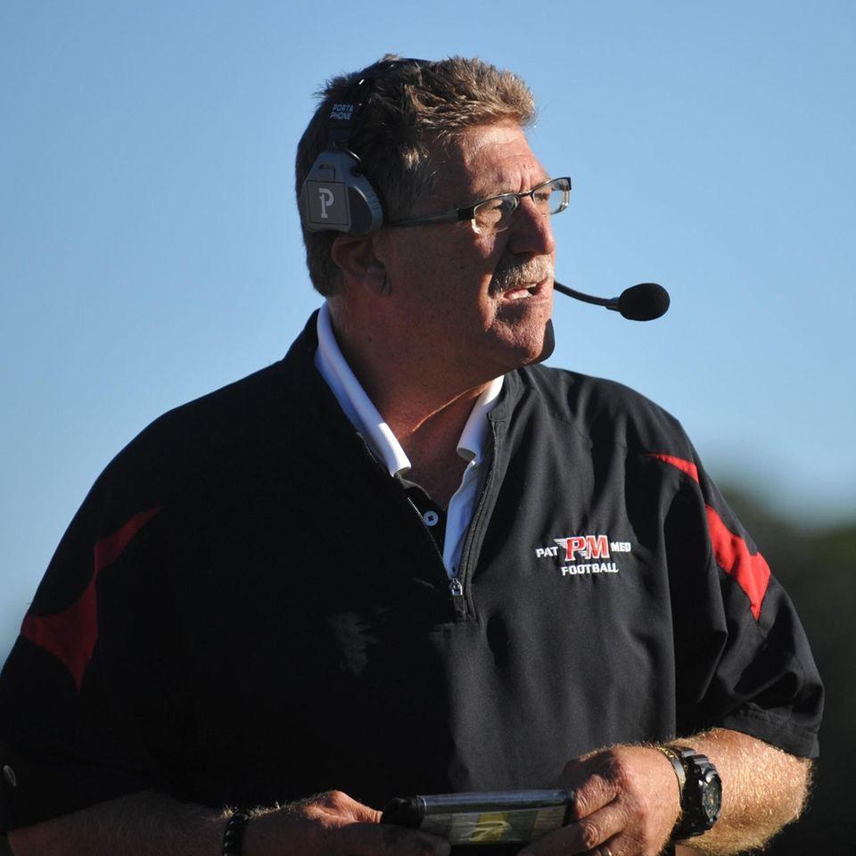 Gary Marangi, Patchogue-Medford head coach, surveys the field