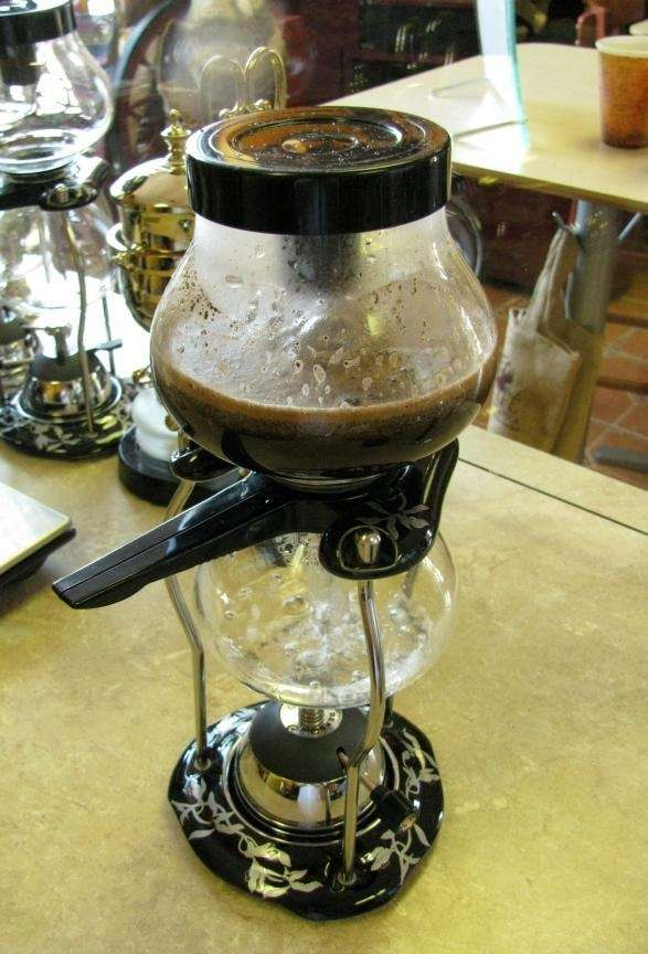 A siphon coffee maker at Georgio's Roasterie in